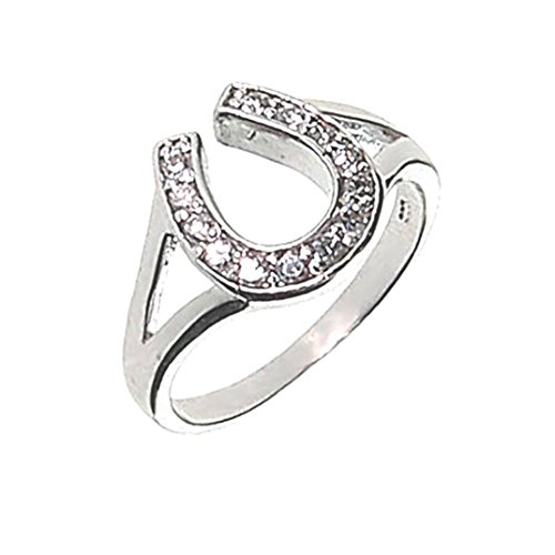 Lucky Horseshoe Ring Crystal and Silver Western Jewelry Good Luck Charm for Horse Lover Girl Woman Teen