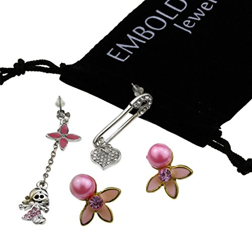 Charm Silver Flower Pearl Crystals Heart Doll Dangle Earrings Set