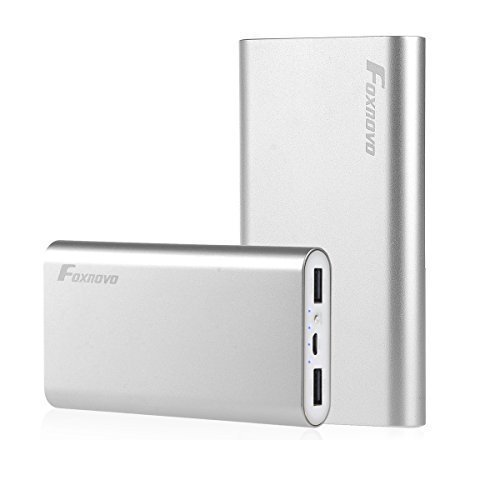 Foxnovo FP10 10400mAh Dual-Port Backup External Battery Chargers Power Bank Charger for iPhone 6,6 plus,5S 5, 4S 4, iPad ,Samsung Galaxy S6,S6 Edge,S5 S4, Smartphones and Most Other Cell Phone and USB Devices (Silver)