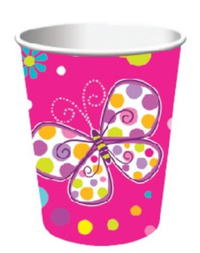 Creative Converting Butterfly Sparkle Hot or Cold Beverage Cups, 8-Count