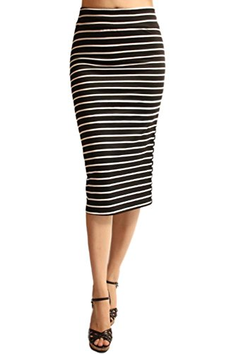 Azule Women's Below the Knee Pencil Skirt for Office Wear - Made in USA Black/White Striped Large