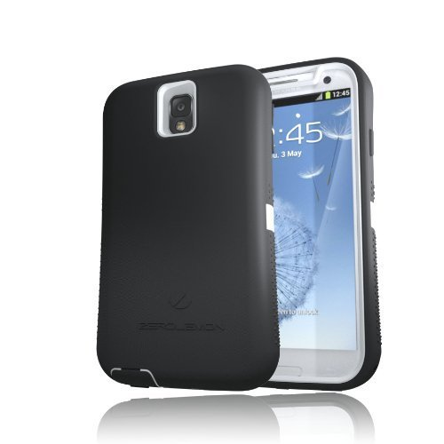 [180 Days Warranty][Case WITHOUT Battery] Zerolemon White / Viper Black Zero Shock Series for Samsung Galaxy Note 3 N9000 - Covers All Battery Sizes - Worlds Only Universal Form Fitting Case. Rugged Hybrid Case Includes Belt Clip and Kickstand **Usa Patent Pending** by ZeroLemon