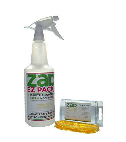 EZ ZAP Carpet & Fabric Stain Remover (3 pack) GREEN, Non-Toxic & Environmentally Friendly with 360 Spray Bottle