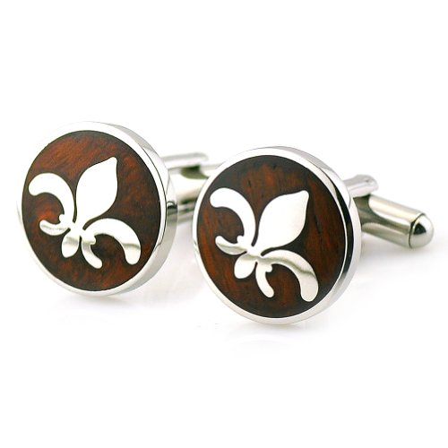 PenSee Fashion Stainless Steel & Red Wood Cufflinks for Men with Gift Box