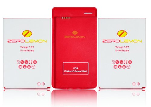 [180 days warranty] ZeroLemon 2x LG Optimus G Pro 3150mAh Battery + Free Battery Charger with USB charge port (Compatible with At&t LG Optimus G Pro E980 & International F240)