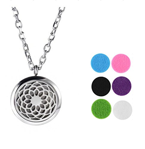 NIANPU Aromatherapy Round Hollow Pendant Essential Oil Diffuser Necklace Jewelry
