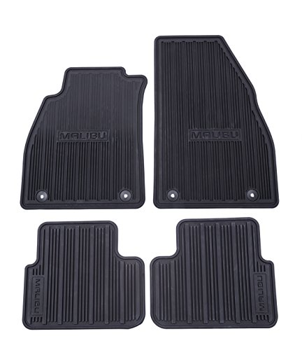 GM # 22906996 Floor Mats - Front and Rear Premium All Weather - Black - Malibu Logo on all 4 Mats - 2.0 stamped on Upper Mat Retainer