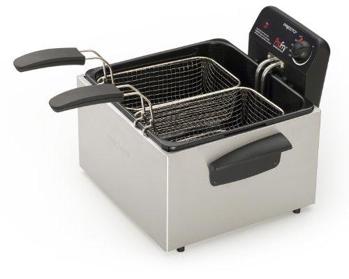 National Presto 05484 Stainless Steel Dual Basket Pro Fry Immersion Element Deep Fryer, Silver/Black