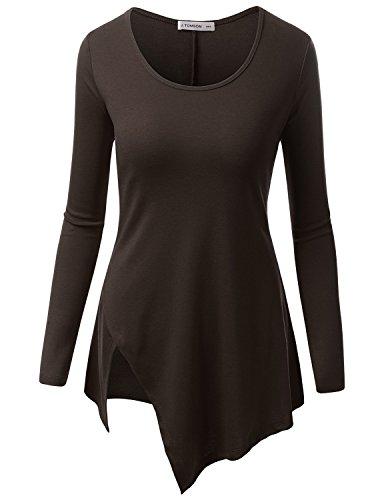 J.TOMSON Women's Basic U-Neck Long Sleeve Asymmetrical Hem Tunic Top BROWN 2XL