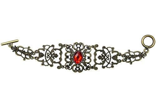 niceEshop(TM) Fashion Vintage Gold,plated Alloy Ruby Bracelet,Red&Bronze