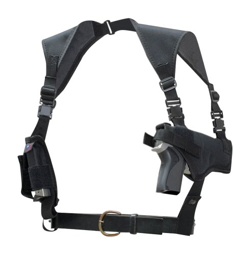 Ambidextrous Nylon Light-weight Horizontal Shoulder Holster with Double Mag Pouch for Baby Glock , Glock 19, 23 Made in USA