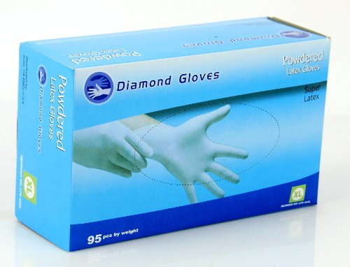 Latex Powdered Gloves, Natural White, Box of 95, Multi-Purpose and General Use