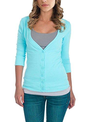 Juniors - Womens 3 4 Sleeve T Shirt Button Cotton Knit V-Neck Cardigan Sweater