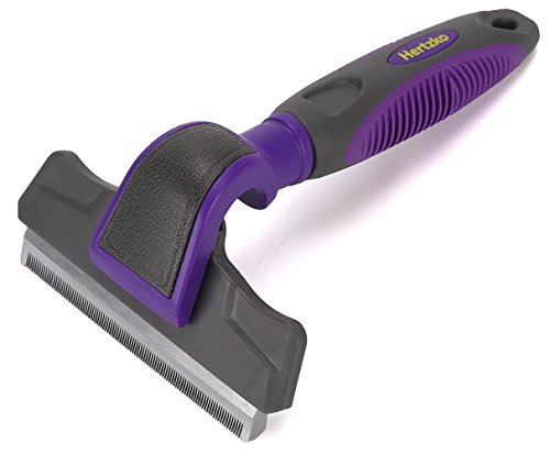 Hertzko Pet Deshedding Tool -Gently Removes Shed Hair - For Small, Medium, Large, Dogs And Cats, With Short To Long Hair