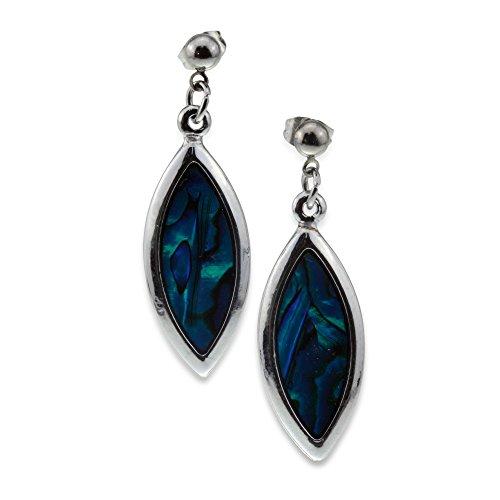 Elegant Unique Silver and Blue Green Abalone Paua Shell Teardrop Designer Dangle Earrings