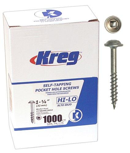 Kreg SML-HL125 - 1000 1 1/4-Inch Pocket Hole Screws No.7 Hi-Lo Washer Head, 1000 Pack