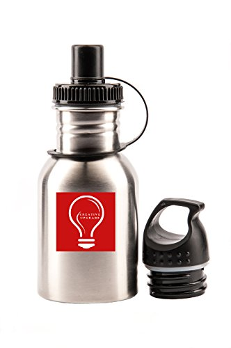 Stainless Steel Kids Water Bottle-2 BOTTLE CAPS-12oz-BPA free water bottle for children- LEAK PROOF- Odor free stainless steel kids water bottle- Easy to Grab-Best for School&Sports