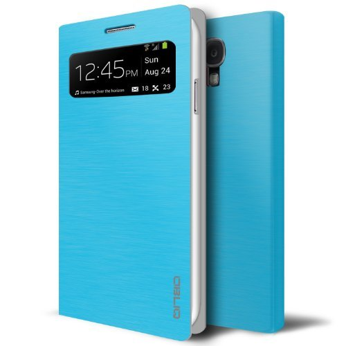 [Brushed Emerald Blue] Obliq Samsung Galaxy S4 View Flip Cover Case Brosse V - Premium Slim Fit Metallic Flip View Cover - Retail Packaging - Verizon, AT&T, Sprint, T-Mobile, International, and Unlocked - Flip Cover for Galaxy S 4 SIV S IV i9500 2013 Model