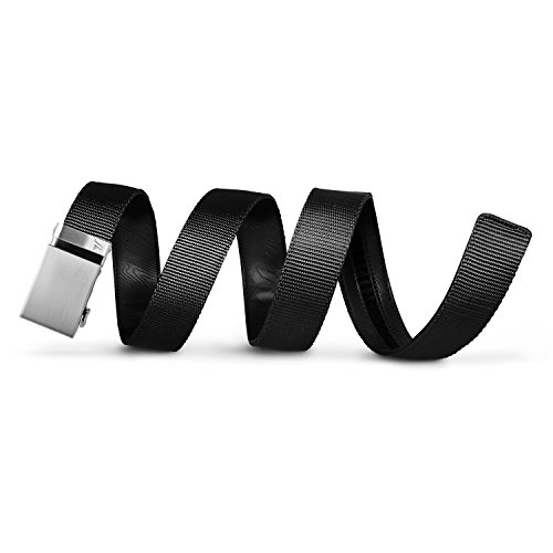 Mission Belt Men's Ratchet Belt - 40mm Steel Buckle / Black Nylon Strap, Small (28 - 32)