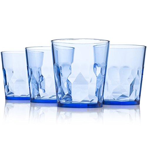 8 oz Premium Juice Glasses - Set of 4 - Unbreakable Tritan Plastic - BPA Free - 100% Made in Japan (Blue)