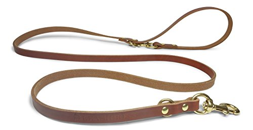 Leashboss Leather Dog Leash - Multi Function Double Clip Full Grain Lead - USA Made - For K9 Training, Service Dogs or Everyday Use (Tan Color, Multi)