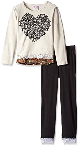 Sugah & Honey Big Girls' Sweatshirt with Chiffon and Lace Trim and Leggings