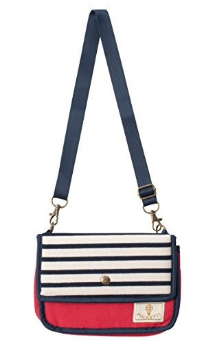 Pocketti Horizontal Striped Design Multi-Purpose Pouch (Navy)