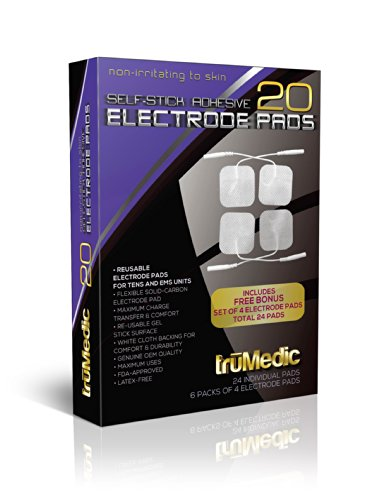 truMedic Replacement Pads Oem Tens Electrode Pads, White, 24 Individual Pads