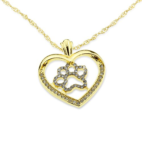 Dog Paw Pet Lover Gold Silver Heart Iced Out Pendant Love Girlfriend Necklace Jewelry Anniversary Gift