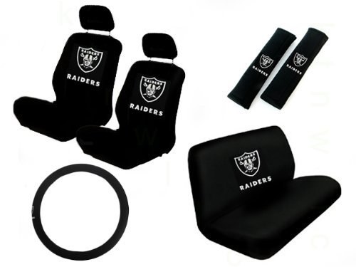 11 Piece NFL Auto Interior Gift Set - Oakland Raiders - A Set of 2 Seat Covers, 1 Rear Bench Cover, 1 Steering Wheel, and A Set of 2 Seat Belt Pads