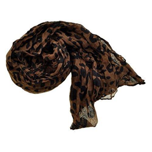 Silky Fashion Brown Designer Inspired Leopard Print Crinkle Scarf Shawl Women Girl Gift