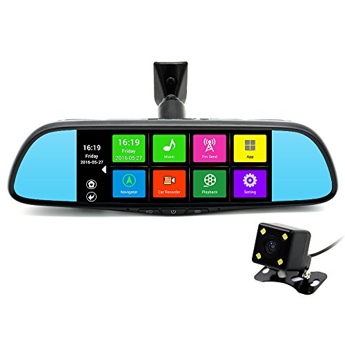 junsun 7 GPS Navigation Mirror Bluetooth Touch Special Android 16GB for Ford Car DVR Dual Lens Camera Rear WiFi FM Transmit