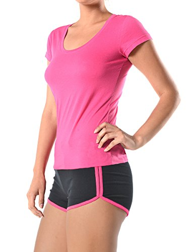Women Active Sports Tops T-shirt and Dolphin Mini Shorts