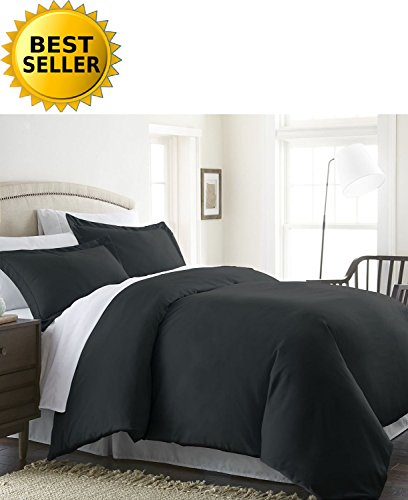 Celine Linen® Wrinkle & Fade Resistant 3-Piece Duvet Cover Set - Protects and Covers your Comforter / Duvet Insert, 1500 Series LUXURIOUS 100% HypoAllergenic - Super Silky Soft, Solid