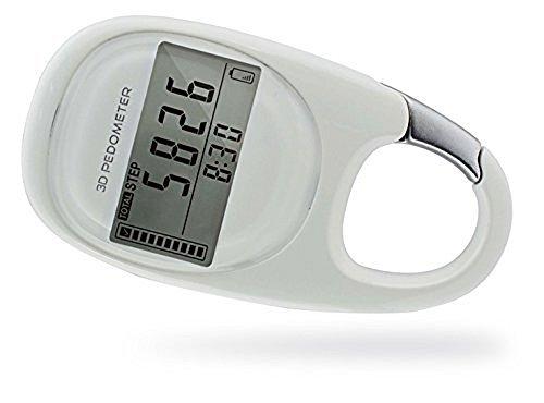 PINGKO 3D Carabiner Pedometer Activity Fitness Tracker, White