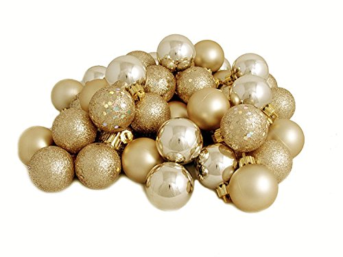 32ct Champagne Shatterproof 4-Finish Christmas Ball Ornaments 3.25 (80mm)