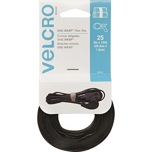 VELCRO Brand  - ONE-WRAP Thin Ties: Reusable, Light Duty - 8 x 1/2 Ties, 25 Ct. - Black