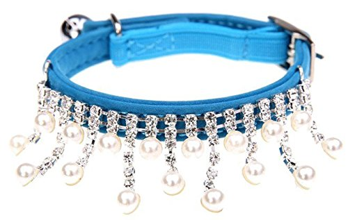 BINGPET BA2012 Adjustable Trendy No Stink Sparkly Dog Cat Collar With Pearl,BLUE XS