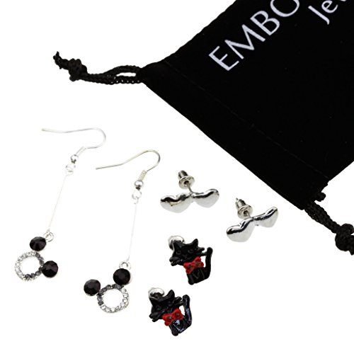 Charm Silver Studded Crystals Cubic Zirconia in Black Kitten Heart Shape Fish Hook Dangle Minnie Mouse Head Earrings Set