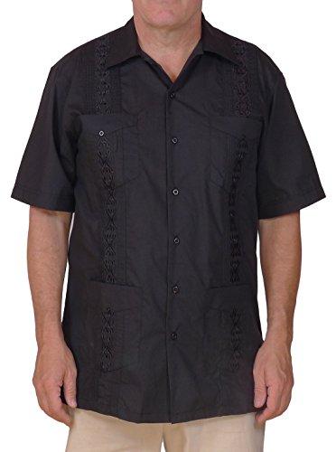 Squish Cuban Style Guayabera Shirt / Black