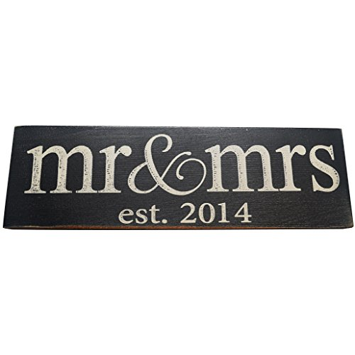 Mr Mrs Est 20XX Vintage Wood Sign for Wedding Anniversary Decoration Prop and Gift or Wall Decor PERFECT WEDDING GIFT (2014) (Black - Small - Lowercase)