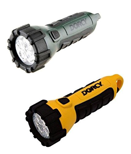 Dorcy 41-2510 Floating Waterproof LED Flashlight with Carabineer Clip, 55-Lumens (Yellow & Green 2 pack) With 2 neck straps