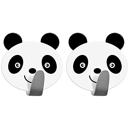 Tatkraft PANDA Self Adhesive Hooks for Towels and Coats, Stainless Steel, Set of 2 PCS, Panda Decor