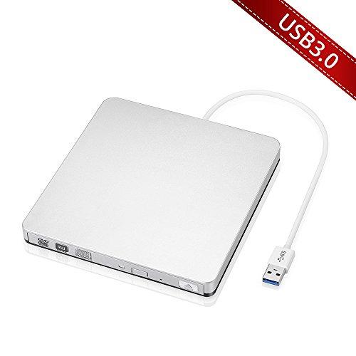 VicTop USB 3.0 CD/DVD-RW Burner Writer Player External Optical Drive for Apple Macbook, Macbook Pro, Macbook Air or other Laptop/Desktops - Silvery