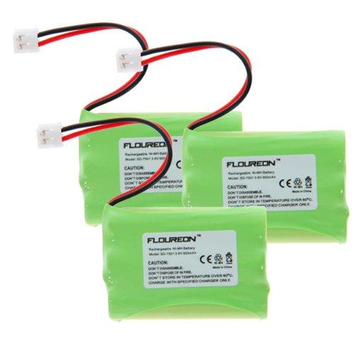 Floureon 3 Packs Telephone Home Battery for Vtech mi6885, mi6889, mi6896, mi6897, 6822bat Rechargeable Cordless Phone, 3.6v 900mAh