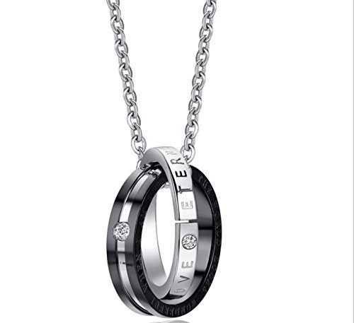 Handmade Stainless Diamond Double Ring Men's Titanium Necklace Chain