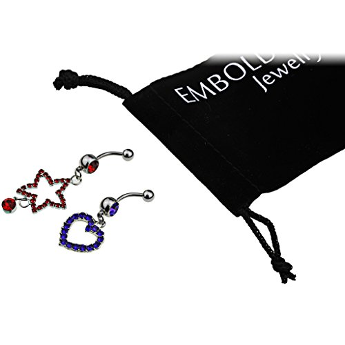 Studded Crystals Red, Blue Star and Heart Steel Navel Pierce Set for Women, Teens, Girls - Surgical Steel