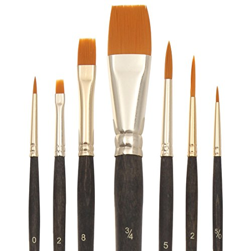 Bianyo Fine Paint Brushes.Nylon Hair Flat & Liner Brush Set for Detail Work,Oil,Watercolor,Acrylic Paint. Pack of 7