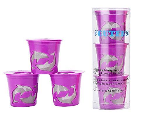 Gutens Reusable Coffee Filter Coffee Cup for Keurig 2.0 - K300, K400, K500 Series and All Keurig 1.0 Series - 3 pcs Purple