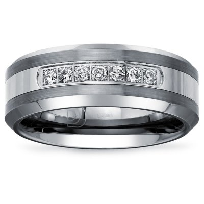 Tungsten Carbide Diamond Men's Wedding Band .20CTW (H-I I2)